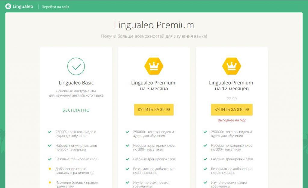 Цена обучения в Lingualeo.com